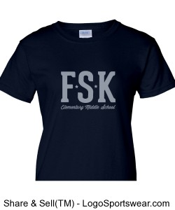 Women's Navy FSK TShirt with Middle School Mascot on Back Design Zoom