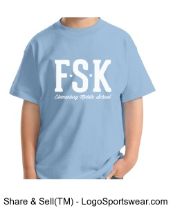 Youth Light Blue FSK Logo TShirt with Elementary Mascot on Back Design Zoom