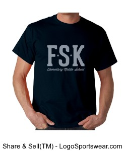 Men's Navy FSK TShirt with Middle School Mascot on Back Design Zoom