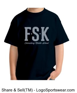 Youth FSK Navy TShirt with Middle School Logo on Back Design Zoom
