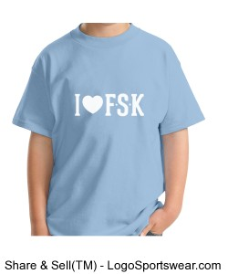 "Youth Light Blue ""I Heart FSK"" TShirt with Elementary Mascot on Back Design Zoom"