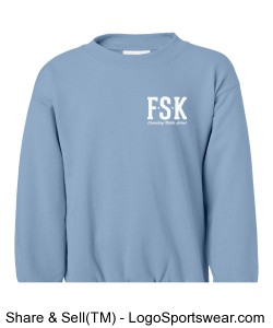 Youth Light Blue Hoodless Sweatshirt with FSK logo and Elementary Mascot on Back Design Zoom